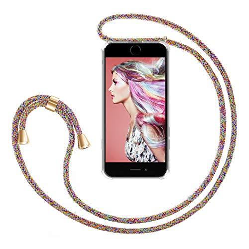 ZhinkArts Handykette kompatibel mit Apple iPhone 7 / iPhone 8-4,7' Display - Smartphone Necklace Hülle mit Band - Schnur mit Case zum umhängen in Rainbow