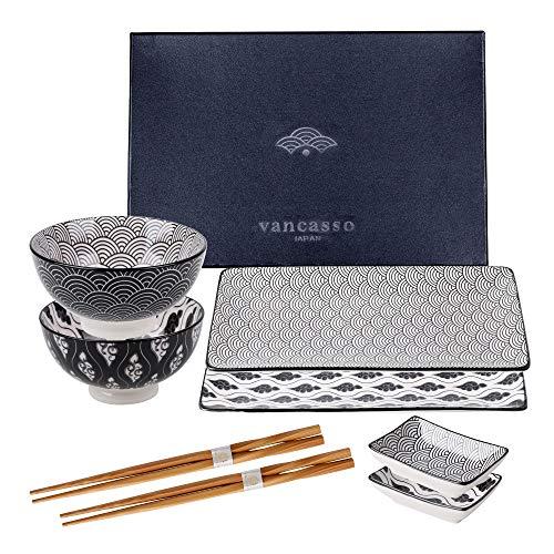 Vancasso Haruka Sushi Set, Porzellan japanische ESS Service, 8-teilig Geschirr-Set für 2 Personen,Beinhaltet Sushi Teller, Schalen, Soßenschälchen und...