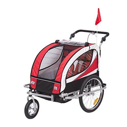 HOMCOM Kinderanhänger 2 in 1 Fahrradanhänger Kinder Jogger Anhänger für 2 Kinder rot-schwarz