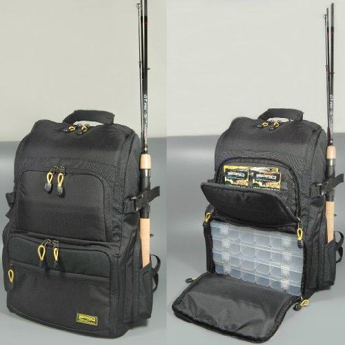Spro Back Pack - Angelrucksack mit 4 Angelboxen, Rucksack zum Spinnfischen, Angeltasche für Kunstköder, Tackletasche, Ködertasche