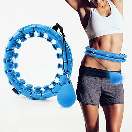 Jolitac Fitness Reifen Sport Hoop Reifen Fitnesskreis Fitnessreifen, Einstellbar Hoop Gymnastikreifen mit Massagenoppen (Blau)