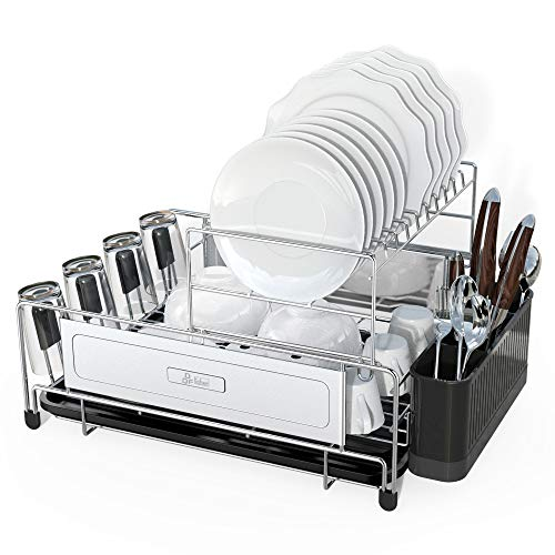 DDF iohEF 2-stufiges Abtropfgestell, Geschirrhalter, Geschirrkorb aus Edelstahl 304 mit Getränkehalter, Besteckhalterkorb,Rostschutz-Abtropffläche mit...