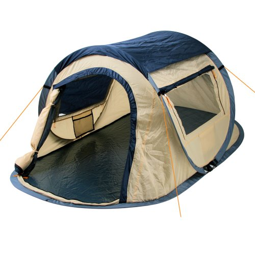 Campfire litter tent Quiki I 2 person Quicktent I camping tent for festivals and more I water-repellent I pop-up tent (blue / cream)