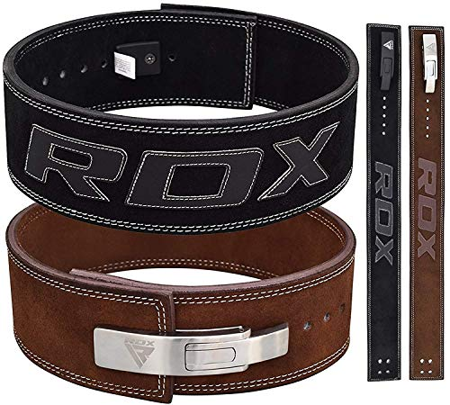 "RDX Weight Lifting Belt for Gym Powerlifting Training | Approved by IPL and USPA | 4 ""Lever Buckle Leather Belt for Deadlifts, Bodybuilding, Weightlifting & ..."