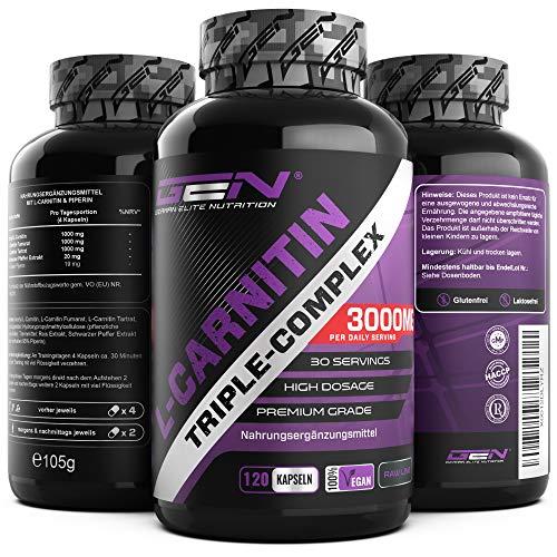 L-karnitiini kolminkertainen kompleksi - 3000 mg päivässä - Premium: Asetyyli-l-karnitiinin, L-karnitiinitartraatin ja karnitiinifumaraatin kompleksi - 120 kapselia - suuri annos - ...