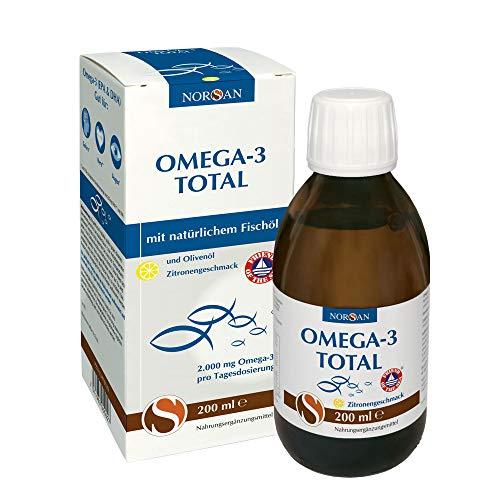 Omega-3 Total Zitrone I NORSAN I flüssiges Omega-3 Öl I Fischöl I 200 ml Flasche I 2.000 mg Omega-3 pro Portion