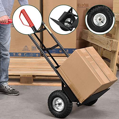 Juskys Sackkarre Basic klappbar   200 kg belastbar   große Luftreifen   Kunststoff Griffe   Stahl Rahmen   Transportkarre Karre
