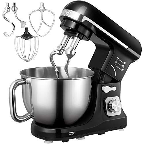 Küchenmaschine, Aicok 5L Geräuschlos Knetmaschine mit Doppelten Knethaken, Rührbesen, Knethaken, Schlagbesen, Spritzschutz, 6 Geschwindigkeit mit...