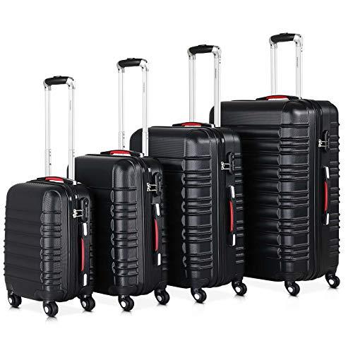 Monzana® Baseline 4er Set Koffer Schwarz S, M, L, XL Gelgriffe Zahlenschloss Reisekoffer Trolley Kofferset Rollkoffer