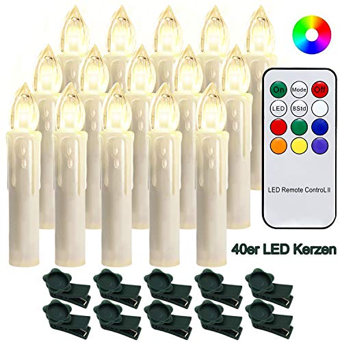 Hengda 40 Christmas LED Candles with Remote Control RGB Candles Holiday Lights Christmas Candles Wireless LED Candle Lights Christmas