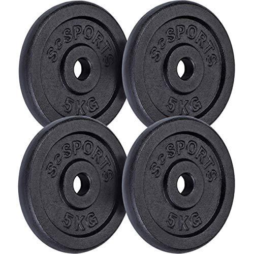 ScSPORTS 20 kg Hantelscheiben-Set, 4 x 5 kg, Gusseisen Gewichte, 30/31 mm Bohrung, geprüft und bestanden durch Intertek (1)