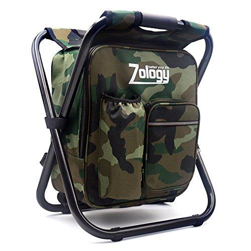 Zology Sitzrucksack Klapp Campingstuhl Hocker Rucksack mit Kühler Isolierte Picknick Tasche, Camouflage Portable Wandern Sitz Tisch Tasche für Outdoor Indoor...