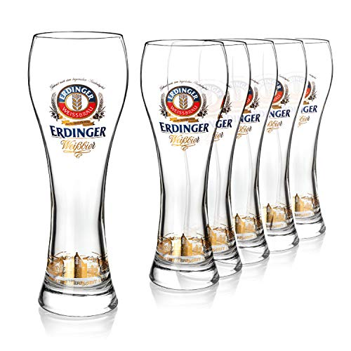 Original ERDINGER Weizenbierglas 0,5 l Set   6 Weizenbiergläser 0,5 l   Ideale Weissbiergläser   ERDINGER Gläser als tolles Bier Geschenk