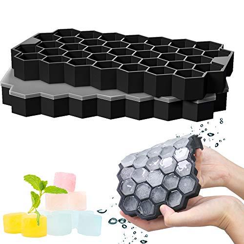 GoZheec 37 Fach Eiswürfelformen mit Deckel, 2 Stück Eiswürfelbehälter aus Silikon, FDA Zertifizierte Eiswürfelformen und BPA Frei, Ice Cube Tray Bier, Whisky,...