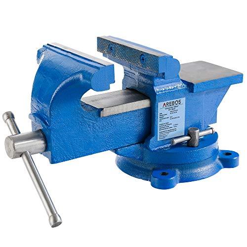 Arebos Schraubstock 150 mm / 360° drehbar/mit Amboss/blau