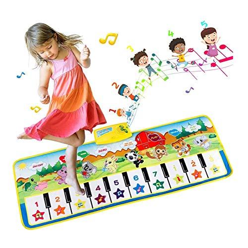 EXTSUD Piano Mat Tanzmatten Klaviermatte Musikmatte Kinder 8 Instrumenten Klaviertastatur Spielzeug Musik Matte, Keyboard Matten Spielteppich Baby Tanzmatte für...