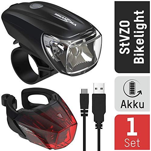 ANSMANN Fahrradlicht Set StVZO zugelassen - Akkubetrieben und aufladbar über USB, CREE LED, regensicher, einfache Montage, abnehmbar - Fahrradbeleuchtung bestehend...