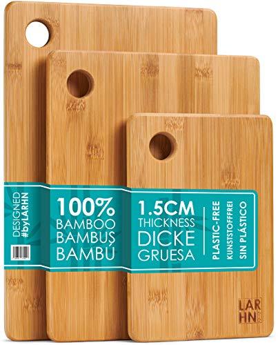 LARHN Hochwertige Schneidebretter Holz - 3 Extra Dickes Bambus Schneidebrett Set - 33x22cm / 28x22cm / 22x15cm - Verwenden Sie als Küchen-bretter,...