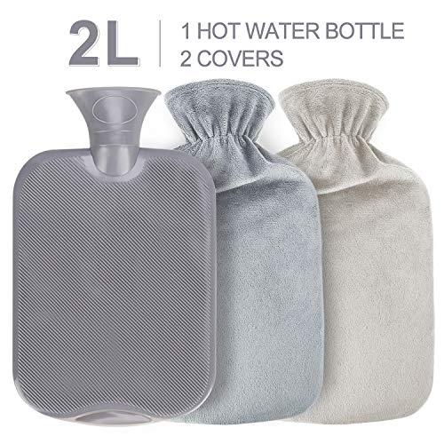 Gifort Waermflasche mit 2 bezug, Wärmeflasche mit Super Weichem Plüsch-Bezug Waschbare Wärmekissen, Sicher und Warm Hot Water Bottle Länger für Abende, Schnelle...