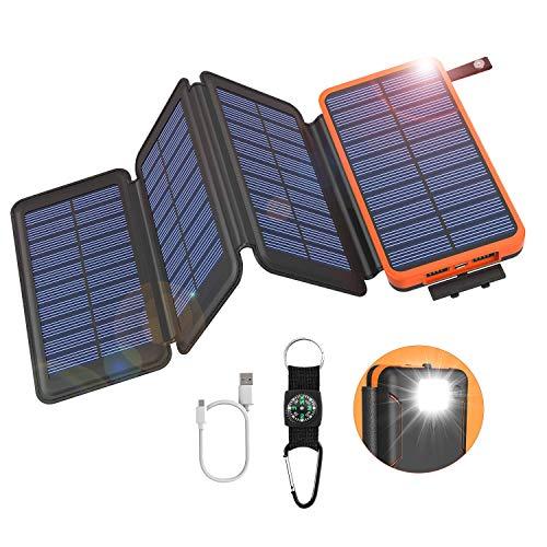 GOODaaa Solar Powerbank 25000mAh, Solar Power Bank Outdoor mit 3 Ausgängen, Solar Ladegerät mit Taschenlampen-Kompass für Handy Tablet Smartphone, Alle...