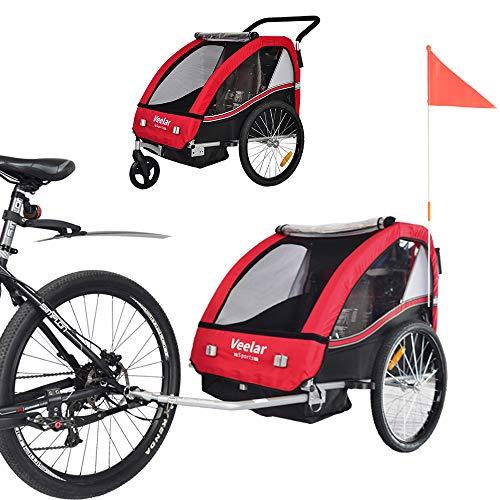 Tiggo Kinderfahrradanhänger Fahrradanhänger Jogger 2in1 Anhänger Kinderanhänger 50202-01 Rot