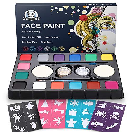 Dookey Kinderschminke Set, Hochwertiges 14 Schminkfarben Face Paint mit 24 Malerschablonen, Wasserbasiert und Ungiftig, Geschenk für Kinder Partys & Fasching &...