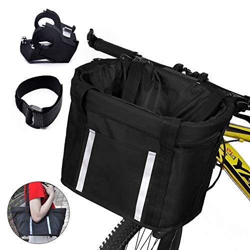 ANZOME Fahrradkorb vorne, Faltbar Fahrrad vorne Korb, mit Lenkeradapter und Kabelbinder, Easy Install Abnehmbare Lenkerkorb Tasche für...