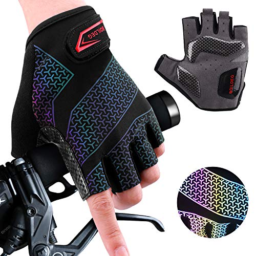 boildeg cycling gloves cycling gloves non-slip and shock absorbing mountain bike gloves with signal color suitable unisex men women (black, s)