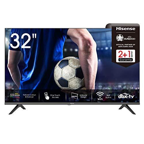 Hisense 32AE5500F 80 cm (32 Zoll) Fernseher (HD, Triple Tuner DVB-C/ S/ S2/ T/ T2, Smart-TV, Frameless, Prime Video, Netflix, YouTube, DAZN),schwarz
