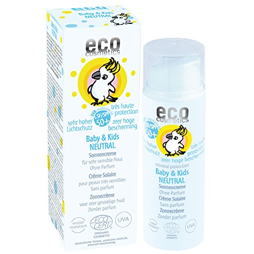 eco cosmetics baby sun cream SPF50 + neutral, waterproof, vegan, without microplastics, natural cosmetics for face and body, 1 x 50ml