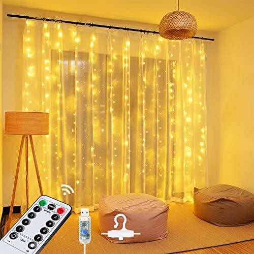 OMERIL LED Lichterkette Lichtervorhang 2,4mx1,8m, USB Lichterkettenvorhang mit Timer 8 Modi Fernbedienung, Wasserdichte Lichterkette für Garten, Party, Weihnachten,...
