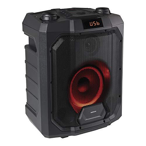 MEDION P61988 Party-Soundsystem (Mobile PA, Partylautsprecher ,Karaoke, Bluetooth, Kompaktanlage, 500 Watt, 4000mAh Akku, Farbige LED, USB, AUX, Mikrofonanschluss,...