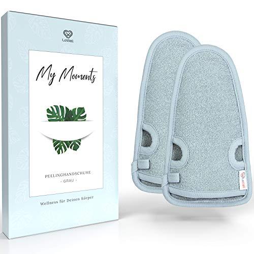 LoWell® 2 Stück Peelinghandschuh - Hamam Peeling Handschuh für Körper und Gesicht - Bonus Peeling Guide und 2 Saugnäpfe - Grau