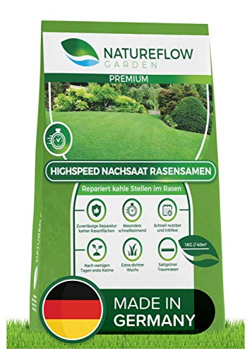 Natureflow Premium Rasen Nachsaat - Besonders Schnellkeimende Rasensamen - Zuverlässige Grassamen zur Rasen-Reparatur - Für Ihren Traumgarten 1kg