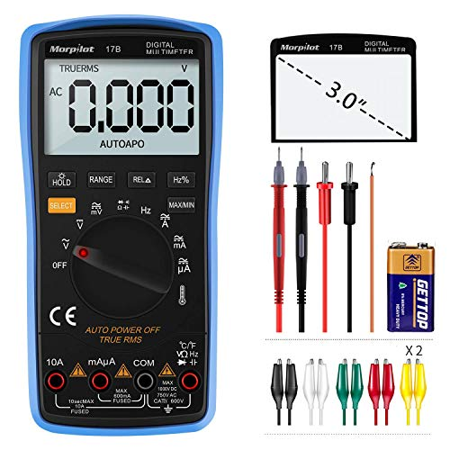 Digital Multimeter, Auto-Range Morpilot 6000Counts Strommessgerät Voltmeter Ohmmeter Amperemeter, Temperatur, Außenleiter-Identifizierung, True RMS,...