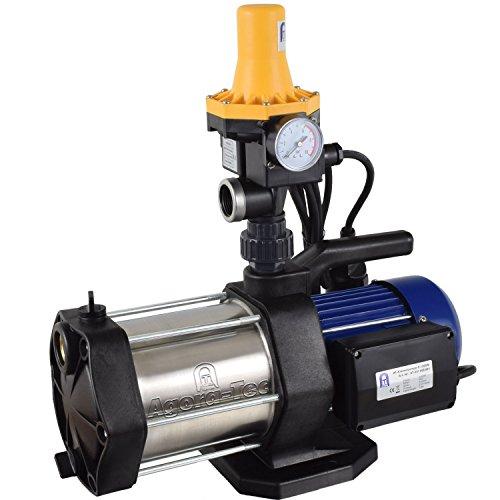 Agora-Tec AT-Hauswasserwerk-5-1300-3DW, 5 stufige Kreiselpumpe mit max: 5,6 bar und max: 5400l/h und Druckschalter mit Trockenlaufschutz