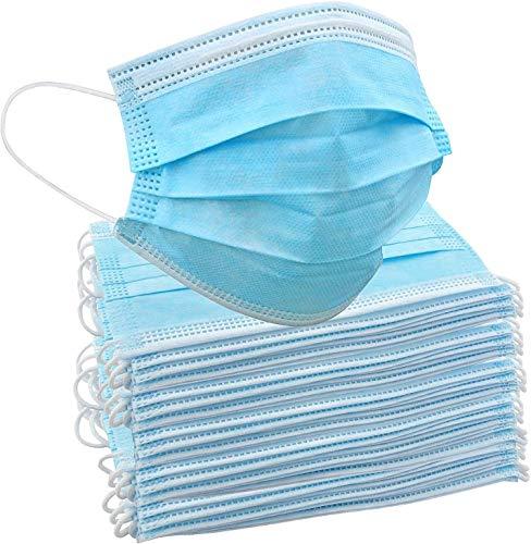 50 Stück Einweg-Gesichtsmasken | Innen- und Außenschutz für Nase und Mund mit 3-lagigem Sicherheitsschutz, elastische Ohrschlaufen & bequemes für Erwachsene &...
