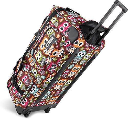 normani lightweight XXL travel bag with wheels, trolley sports bag with wheels, color retro owl, size 100 liters