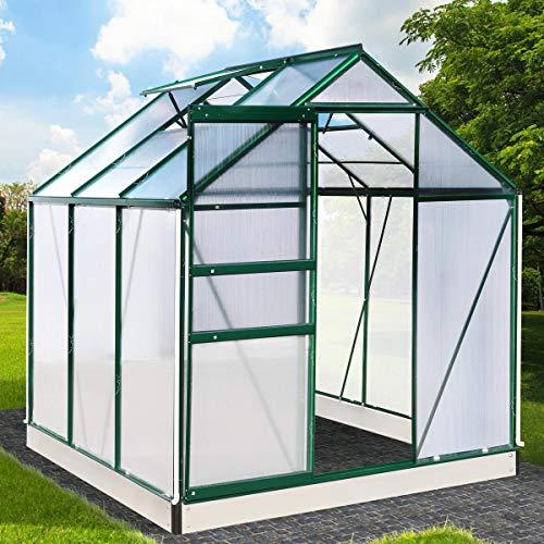 BRAST Gewächshaus Aluminium mit Fundament rostfrei 190x190x195cm Grün 4mm Platten 37 Modelle Alu Treibhaus Glashaus Tomatenhaus