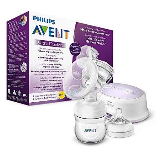 Philips Avent SCF332/31 Elektrische Komfort-Einzelmilchpumpe, inkl. Naturnah-Flasche, weiß