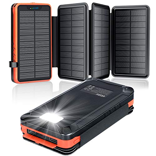 elzle Solar PowerBank 26800mAh, Solar Ladegerät mit 4 Sonnenkollektoren, Taschenlampe, Zwei 5V 2.1A USB-Ports Externer Akku Kompatibel Für Smartphones, Tablets...