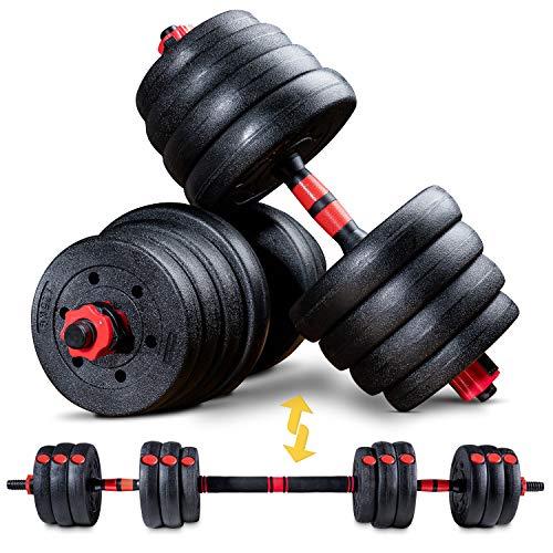 Sportstech 2in1 innovatives Hantel Set AH150 | Kurzhanteln & Langhanteln | Hanteln im 20kg, 30kg, 40kg Set | Sicherheitsverschluss + extra langes Verbindungsstück...