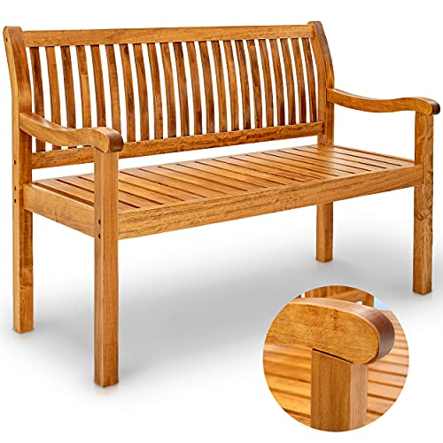 tillvex Gartenbank Holz wetterfest   Parkbank Massivholz   Sitzbank 320 kg belastbar   Holzbank für Balkon, Terrasse & Garten