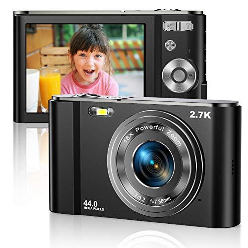 Vnieetsr Digitalkamera 2.7K Ultra HD Mini-Videokamera 44MP 2.8 Zoll LCD Wiederaufladbare Studententaschenkamera mit 16X Digitalzoom-Kamera für Kinder, Erwachsene,...