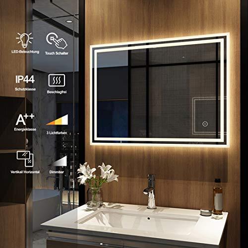 Meykoers Wandspiegel Badezimmerspiegel LED Badspiegel mit Beleuchtung 80x60cm mit Touch Schalter und Beschlagfrei, Lichtspiegel Dimmbar Warmweiß/Kaltweiß/Neutral...