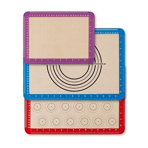 Newdora [3 Stück] Backmatte Set aus Silikon, Macarons Backmatte, Rutschfester wiederverwendbarer Hitzebeständig Antihaftbeschichtet, BPA frei ,42×29.5 cm...