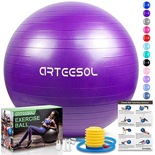 arteesol Gymnastikball, Balance Ball 45cm/55cm/65cm/75cm Yoga Ball mit Pumpe Anti-Burst Fitness Balance Ball für Core Strength (Lila, 75cm)