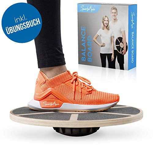 SportyAnis® Premium Balance-Board wood incl. Exercise book and optional mat, diameter 40 cm - therapy spinning top wobble board for physiotherapy for ...