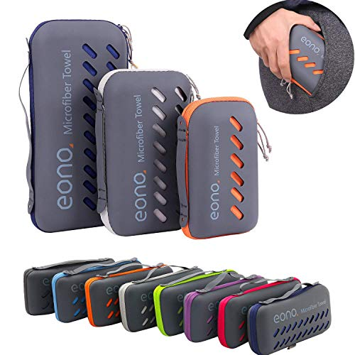 Eono by Amazon - microfiber towels, 8 colors - compact, ultra light & quick-drying - microfiber towels - perfect sports towel, beach towel, ...