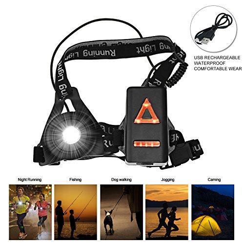 Nacht Sports Lauflicht, LED USB Wiederaufladbare Lauflampe Lichter Brustlampe 250 LM wasserdicht leicht mit 3 Beleuchtungsmodi für Läufer Jogger Sport im Freien...